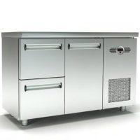 Ψυγείο Πάγκος Συντήρηση (135x60x87cm) Με 1 Πόρτα 2 Συρτάρια Και Μηχανή Στα Δεξιά
