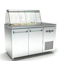 Ψυγείο-Βιτρίνα Σαλατών (135x60x126cm) Με 2 Πόρτες Και Μηχανή Δεξιά