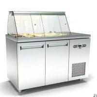 Ψυγείο-Βιτρίνα Σαλατών (135x70x126cm) Με 2 Πόρτες Και Μηχανή Δεξιά