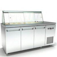 Ψυγείο-Βιτρίνα Σαλατών (180x60x126cm) Με 3 Πόρτες Και Μηχανή Δεξιά