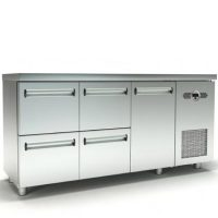 Ψυγείο Πάγκος Συντήρηση (180x70x87cm) Με 1 Πόρτα 4 Συρτάρια Και Μηχανή Στα Δεξιά