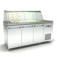 Ψυγείο-Βιτρίνα Σαλατών (180x70x126cm) Με 3 Πόρτες Και Μηχανή Δεξιά