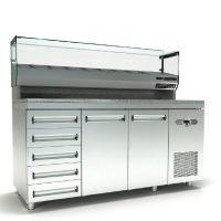 Ψυγείο Πίτσας Με Γρανίτη, 2 Πόρτες, 5 Συρτάρια, Βιτρίνα Και Μηχανή Δεξιά