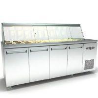 Ψυγείο-Βιτρίνα Σαλατών (225x70x126cm) Με 4 Πόρτες Και Μηχανή Δεξιά