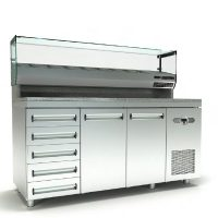 Ψυγείο Πίτσας Με Γρανίτη, 3 Πόρτες, 5 Συρτάρια, Βιτρίνα Και Μηχανή Δεξιά