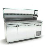 Ψυγείο Πίτσας Με Γρανίτη (225x75x140cm) Με 4 Πόρτες Βιτρίνα Και Μηχανή Δεξιά